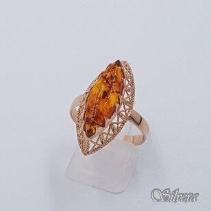 Auksinis žiedas su gintaru AZ490; 19 mm