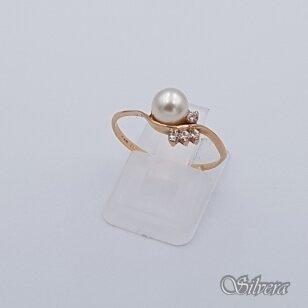 Auksinis žiedas su perlu ir cirkoniais AZ164; 16 mm
