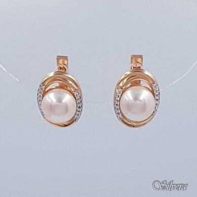 Auksiniai auskarai su kultivuotu perlu ir cirkoniais AU364