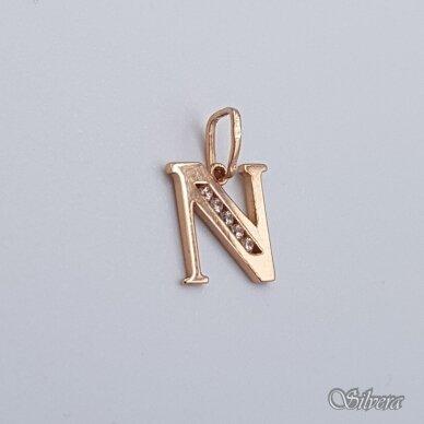 """Auksinis pakabukas su cirkoniais raidė """"N"""" AP234 2"""