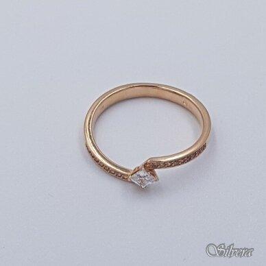 Auksinis žiedas su cirkoniais AZ499; 17 mm 2