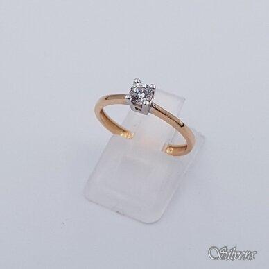 Auksinis žiedas su cirkoniu AZ109; 17,5 mm