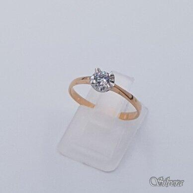 Auksinis žiedas su cirkoniu AZ498; 17,5 mm