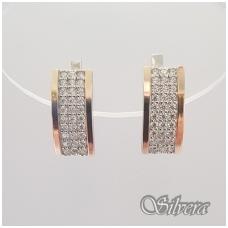 Sidabriniai auskarai su aukso detalėmis ir cirkoniais Au1256