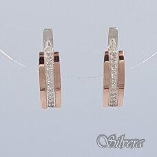Sidabriniai auskarai su aukso detalėmis ir cirkoniais Au1455