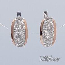 Sidabriniai auskarai su aukso detalėmis ir cirkoniais Au1471