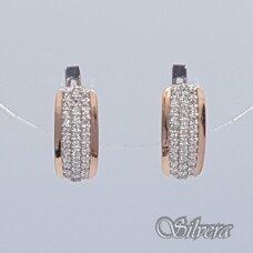 Sidabriniai auskarai su aukso detalėmis ir cirkoniais Au1472