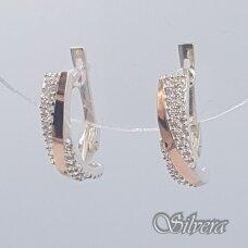 Sidabriniai auskarai su aukso detalėmis ir cirkoniais Au1475