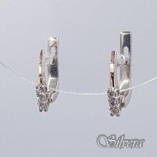 Sidabriniai auskarai su aukso detalėmis ir cirkoniais Au1477