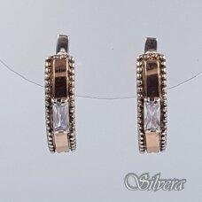 Sidabriniai auskarai su aukso detalėmis ir cirkoniu Au1465
