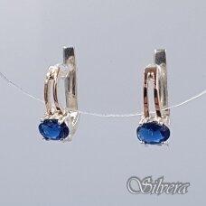 Sidabriniai auskarai su aukso detalėmis ir cirkoniu Au1480
