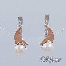 Sidabriniai auskarai su aukso detalėmis ir kultivuotu perlu Au1515