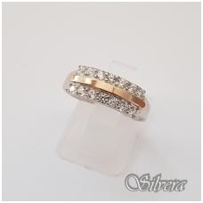 Sidabrinis žiedas su aukso detalėmis ir cirkoniais Z1255; 18,5 mm