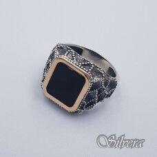 Sidabrinis žiedas su aukso detalėmis ir oniksu Z204; 22 mm