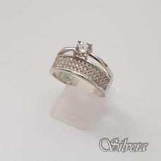 Sidabrinis žiedas su cirkoniais Z206; 17 mm