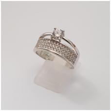 Sidabrinis žiedas su cirkoniais Z206; 19 mm