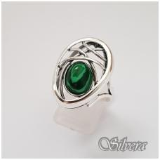 Sidabrinis žiedas su malachitu Z1258; 18 mm