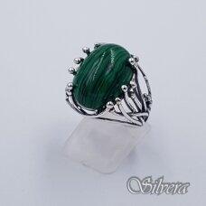 Sidabrinis žiedas su malachitu Z1426; 18 mm