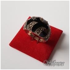 Sidabrinis žiedas su markazitais ir emaliu Z2025; 17,5 mm