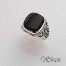 Sidabrinis žiedas su oniksu Z050; 21,5 mm