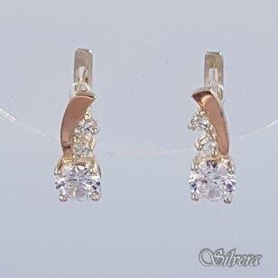 Sidabriniai auskarai su aukso detalėmis ir cirkoniais Au1462