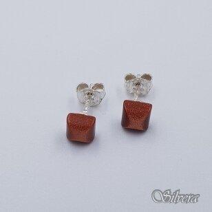 Sidabriniai auskarai su saulės smėlio akmeniu Au2422
