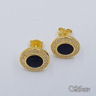 Sidabriniai paauksuoti auskarai su emaliu ir cirkoniais Au2441