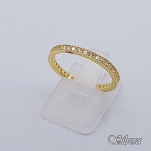 Sidabrinis paauksuotas žiedas su cirkoniais Z243; 18 mm