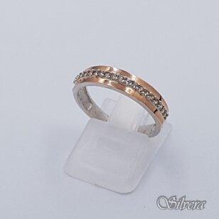 Sidabrinis žiedas su aukso detaalėmis ir cirkoniais Z1516; 18 mm