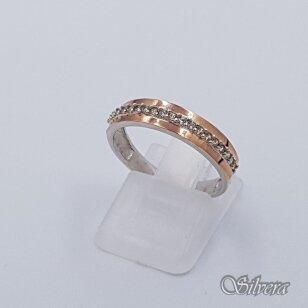 Sidabrinis žiedas su aukso detalėmis ir cirkoniais Z1516; 18,5 mm