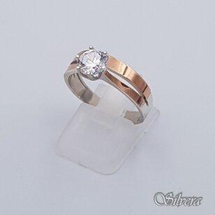 Sidabrinis žiedas su aukso detalėmis ir cirkoniu Z207; 17 mm
