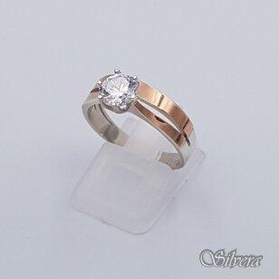 Sidabrinis žiedas su aukso detalėmis ir cirkoniu Z207; 18,5 mm