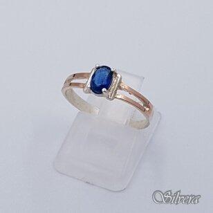Sidabrinis žiedas su aukso detelėmis ir cirkoniu Z232; 17,5 mm