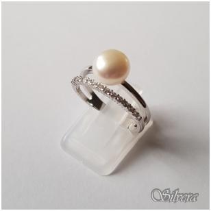 Sidabrinis žiedas su kultivuotu perlu ir cirkoniais Z149; 16,5 mm