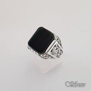 Sidabrinis žiedas su oniksu Z151; 22mm