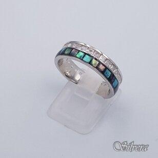 Sidabrinis žiedas su perlamutrais ir cirkoniais Z201; 18,5 mm