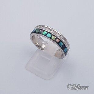 Sidabrinis žiedas su perlamutru ir cirkoniais Z201; 18 mm