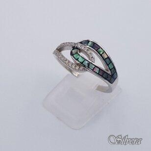 Sidabrinis žiedas su perlamutru ir cirkoniais Z202; 17 mm