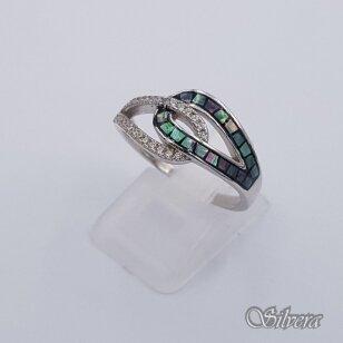 Sidabrinis žiedas su perlamutru ir cirkoniais Z202; 17,5 mm