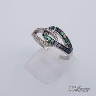 Sidabrinis žiedas su perlamutru ir cirkoniais Z202; 19 mm