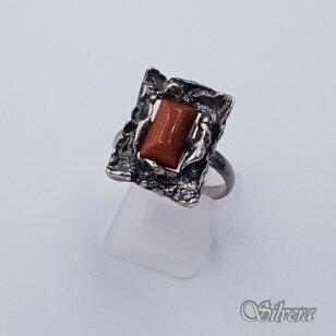 Sidabrinis žiedas su saulės smėlio akmeniu Z216; 18 mm