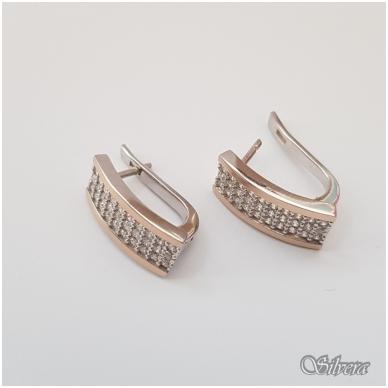 Sidabriniai auskarai su aukso detalėmis ir cirkoniais Au1256 2
