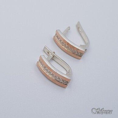 Sidabriniai auskarai su aukso detalėmis ir cirkoniais Au1455 2