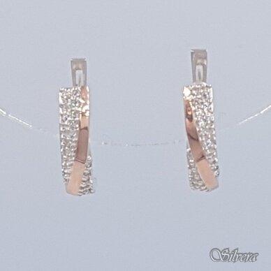 Sidabriniai auskarai su aukso detalėmis ir cirkoniais Au1475 2