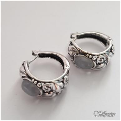 Sidabriniai auskarai su katės akies akmeniu Au1025 2