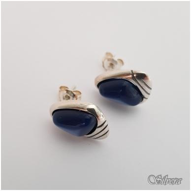 Sidabriniai auskarai su katės akies akmeniu Au2299 2