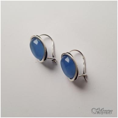 Sidabriniai auskarai su katės akies akmeniu Au3163 2