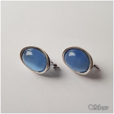 Sidabriniai auskarai su katės akies akmeniu Au3163 3