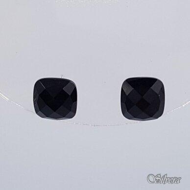 Sidabriniai auskarai su oniksu Au2255 2