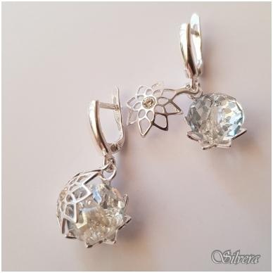 Sidabriniai auskarai su swarovski kristalais Au1232 3